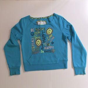 Justice sweatshirt cutoff neckline turquoise sz 8